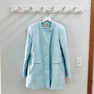 zara mint green pastel blue coat